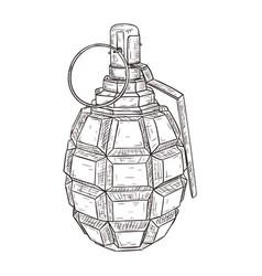Military grenade hand drawn sketch vector