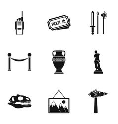 Museum icons set simple style vector