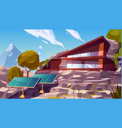 organic architecture eco house with solar panels vector image