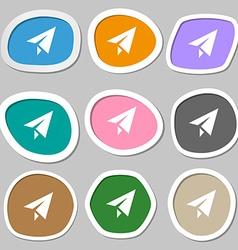 Paper airplane icon symbols Multicolored paper vector