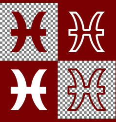 Pisces sign bordo and white vector