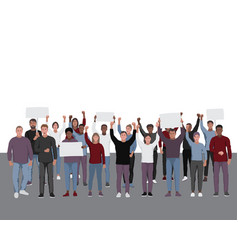 protesting people with fists raised public vector image