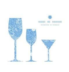 Purple lace flowers three wine glasses silhouettes vector