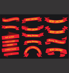 red ribbon banners merry christmas vector image