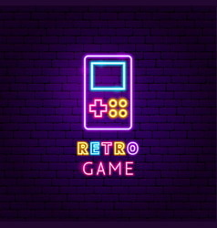 Retro game neon label vector