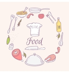 Round card with doodle food icons Hand drawn vector
