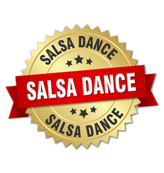 Salsa dance 3d gold badge with red ribbon vector