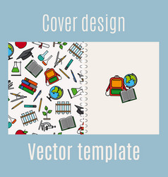 School supply elements pattern cover design vector