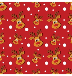 Seamless Christmas red pattern with deer and vector image