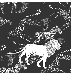 Seamless pattern savanna animals vector image