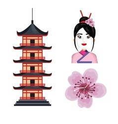 set icon japan traditional culture design vector image