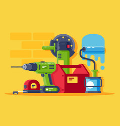 set machinery and tools all for repair vector image