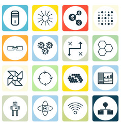 Set of 16 robotics icons includes wireless vector