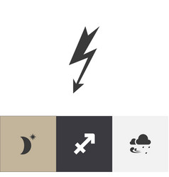 set of 4 editable weather icons includes symbols vector image