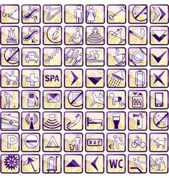 set of 64 stylish hotel icons vector image