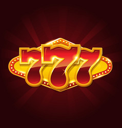 Set of 777 gold casino jackpot sign vector