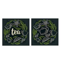 set with lettering tea vintage engraving vector image