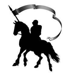 Silhouette a knight with a banner on a horse vector