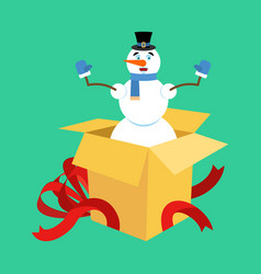 snowman from open gift box surprise christmas and vector image