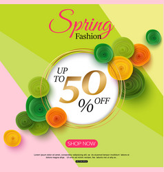 spring fashion sale banner with paper flowers for vector image