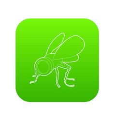 Spy fly icon green vector