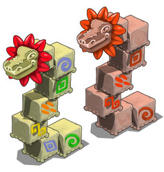 stone cubes with heads of dragons vector image