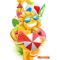 summer cocktail 3d splash juice and sweet vector image