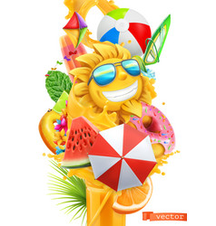summer cocktail 3d splash of juice and sweet vector image