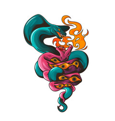 tattoo with snakes and eyes dangerous serpents vector image