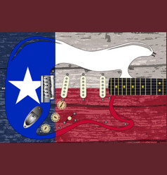 texas flag with electric guitar vector image