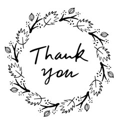 Thank you lettering design doodle vector