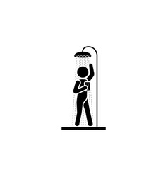 The man in the shower icon black on white vector