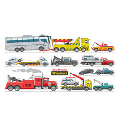tow truck towing car trucking vehicle bus vector image