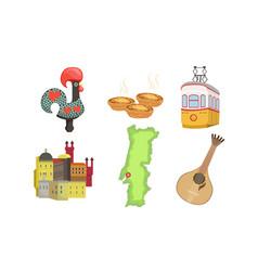 traditional cultural portugal symbols set vector image