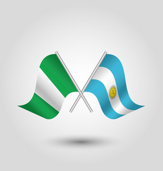two crossed nigerian and argentine flags vector image