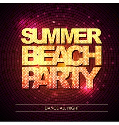 Typography Disco background Summer beach party vector image