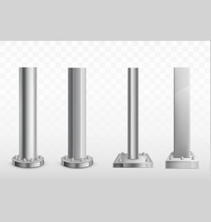 Various bolted steel piles realistic set vector