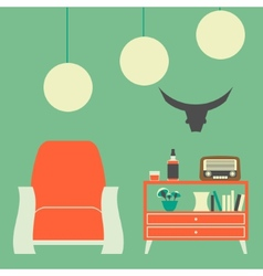 Vintage Interior of 50s-60s with Chair Nightstand vector image
