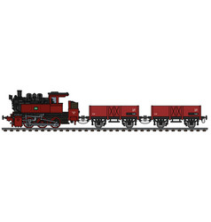 vintage red freight steam train vector image