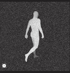 Walking man 3d human body model black and white vector