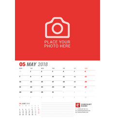 wall calendar planner for 2018 year may print vector image