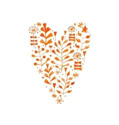 watercolor floral heart vector image