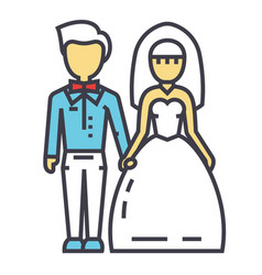 Wedding couple bride and groom marriage just vector