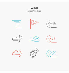 wind hurricane tornado and more thin line color vector image