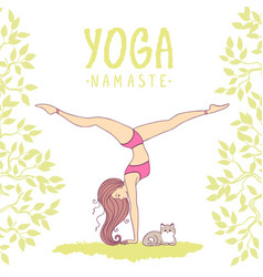 yoga girl color vector image