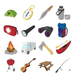 Camping cartoon icons vector image vector image