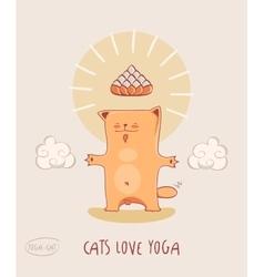 Cat Loves Yoga Red -bodhisattva vector image