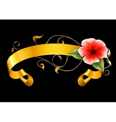 Flower and ribbon on black vector image vector image