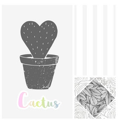 hand drawn greeting card with cactus silhouette vector image