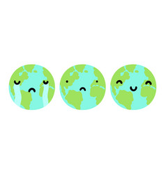 three planets earth with different faces vector image vector image